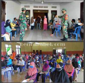 Babinsa Koramil 01/ Tanjungpandan Amankan Penyaluran BST Tahap XI Tahun 2021