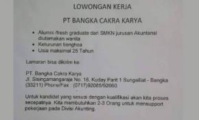 Netizen Babel Soroti Recruitment Tenaga Kerja Berbau Sara