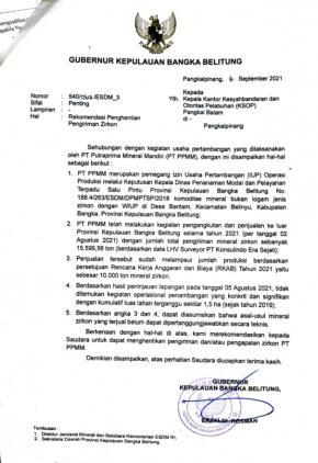 Gubernur Perintahkan Penghentian Aktifitas PT PMM Mengirim Zirkon