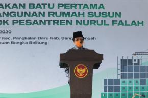 Wagub Abdul Fatah Letakkan Batu Pertama Pembangunan Rumah Susun Pesantren Nurul Falah