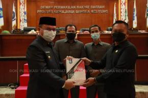 Rapat Paripurna DPRD Provinsi Kep Babel Gubernur Sampaikan LKPJ Tahun 2020