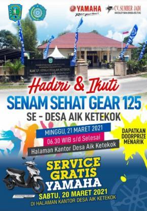 Pemerintah Desa Aik Ketekok Akan Menggelar Senam Sehat Gear 125 se- Desa Aik Ketekok