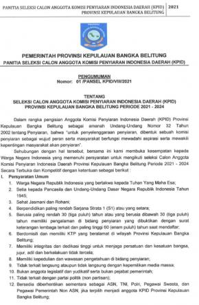 Seleksi Calon Anggota KPID Babel Periode 2021-2024