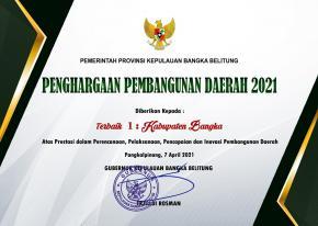 PEMKAB BANGKA KEMBALI RAIH PENGHARGAAN PEMBANGUNAN DAERAH TERBAIK PROVINSI KEPULAUAN BANGKA BELITUNG 2021